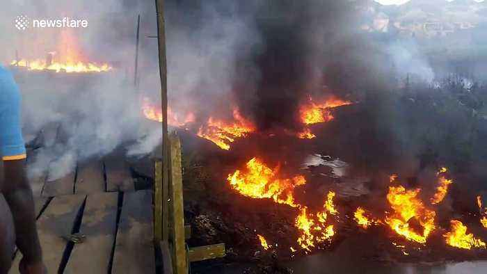 Pipeline explosion causes multiple fires trapping residents in Lagos suburb