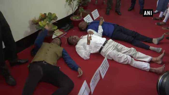 Assam MLAs lie down on State Assemly floor over NRC New Land Policy issue