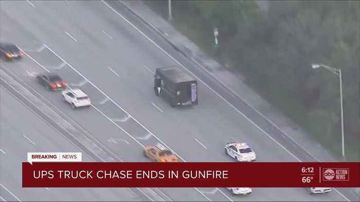 Police chase involving UPS truck ends in shooting in South Florida