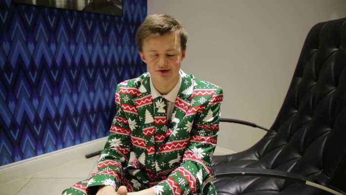 A sixth-form pupil is devastated after his Christmas suits were BANNED by his 'Grinch' teachers who said they were not appropria