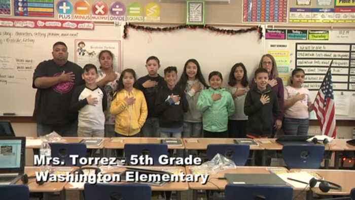 Raise the Flag: Mrs. Torrez' 5th grade class at Washington Elementary