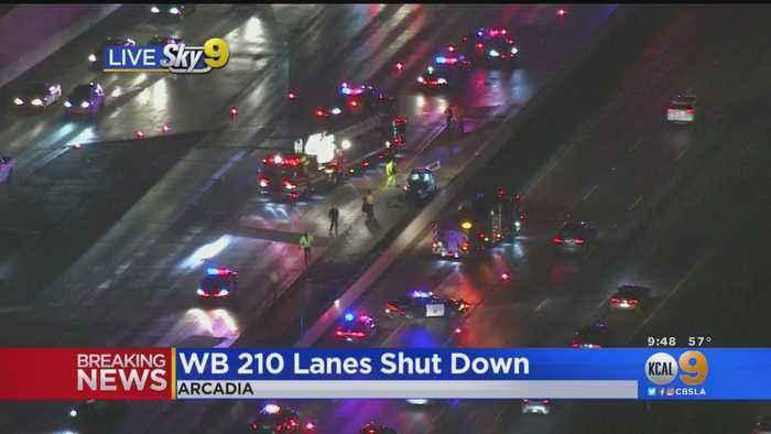Accident In Arcadia Shuts Down Westbound Lanes of 210 Freeway At Santa Anita
