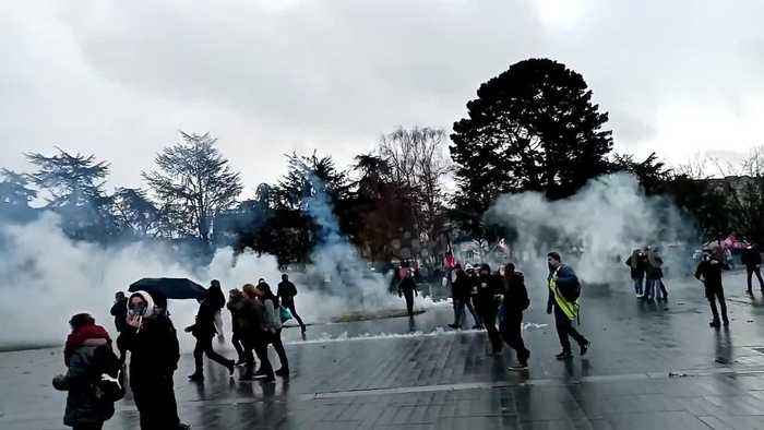 French police fire tear gas as thousands protest again in western city of Nantes