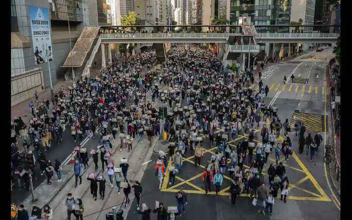 Timelapse footage captures thousands of Hongkongers marching to mark 6 months of protests