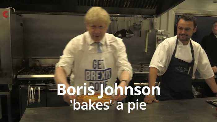 Boris Johnson pulls 'Get Brexit Done' pie out of the oven