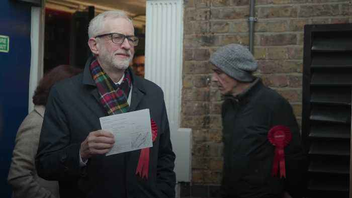 Labour leader Jeremy Corbyn casts his vote
