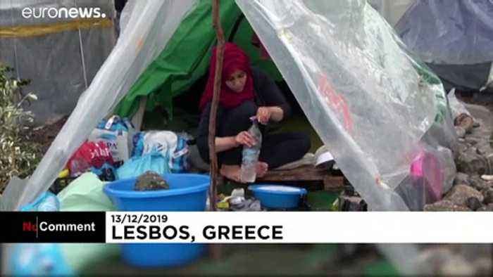 Heavy rain and cold weather hits migrants on Greek island of Lesbos