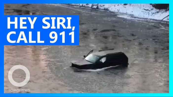 Iowa teen uses Siri to call for help after car plunges into icy river