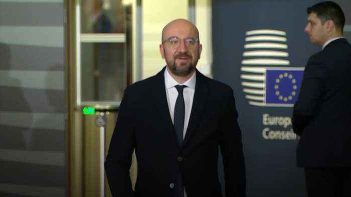 European Council president Charles Michel reacts to UK election result