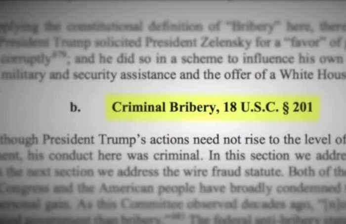 House impeachment report accuses Trump of 'criminal bribery'