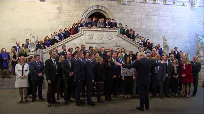 Boris Johnson welcomes his new MPs to Westminster
