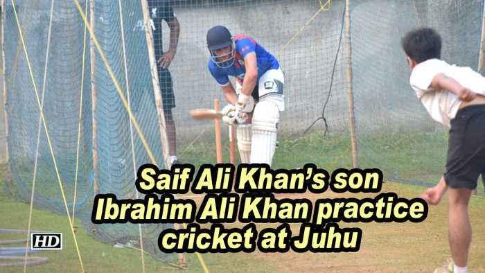Saif Ali Khan's son Ibrahim Ali Khan practice cricket at Juhu