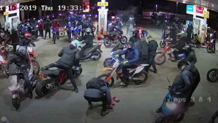 Group of bikers caught robbing petrol station on Halloween