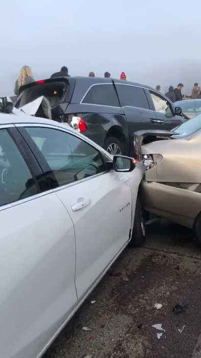 Aftermath of 45 Car Pileup on I-64