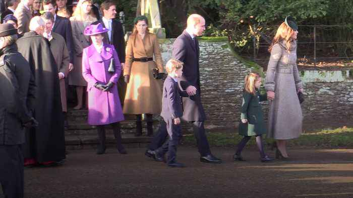 George and Charlotte attend first Christmas Day church service with the Queen