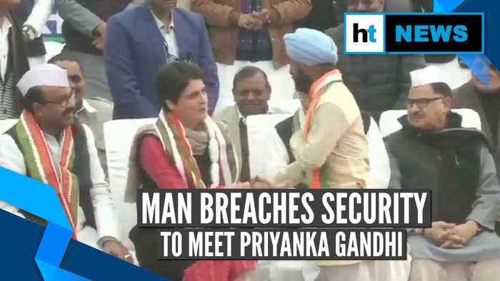 Watch: Priyanka Gandhi's reaction when man breached security to meet her
