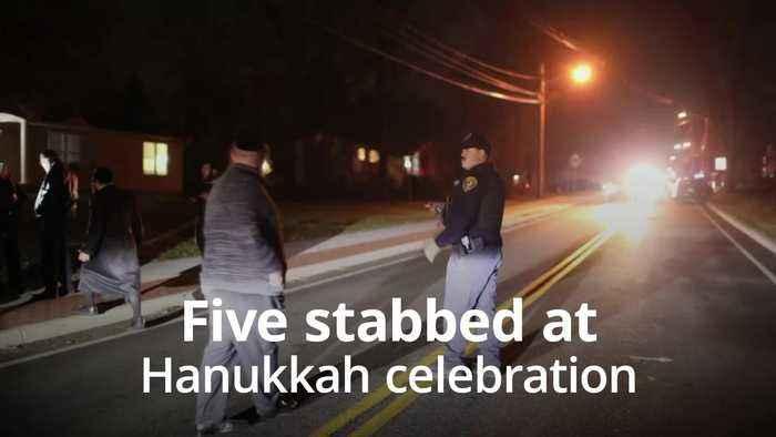 Five stabbed at rabbi's home during Hanukkah celebration