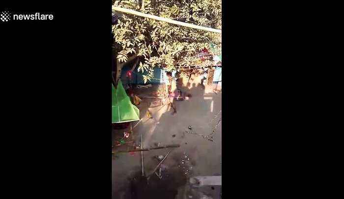 Wild leopard enters village in east India and injures many before escaping