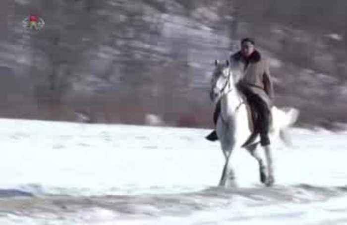 North Korea's state TV airs video of Kim riding horse at Mount Paektu