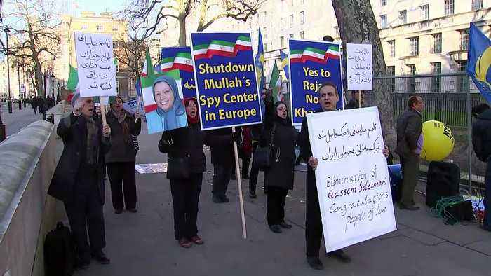 Protesters celebrate Iran general's death outside Downing St