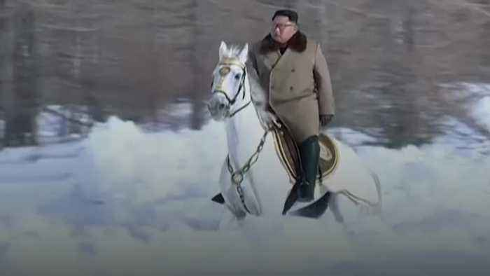 North Korea release new footage of Kim Jong Un riding white horse on mountaintop