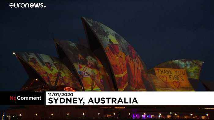 Iconic Sydney Opera House lights up sails in tribute to firefighters