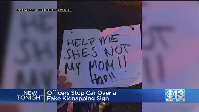 Officers Stop Car Over Fake Kidnapping Sign