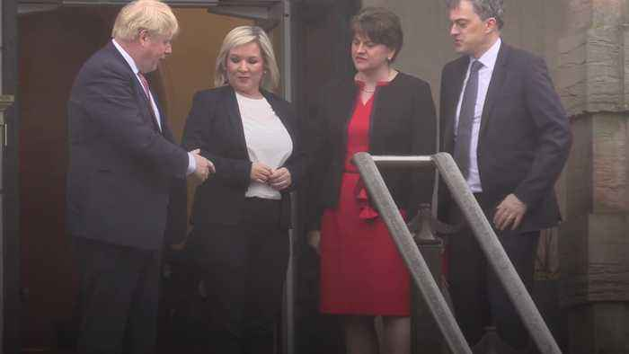 Boris Johnson meets newly-appointed Northern Ireland leaders at Stormont