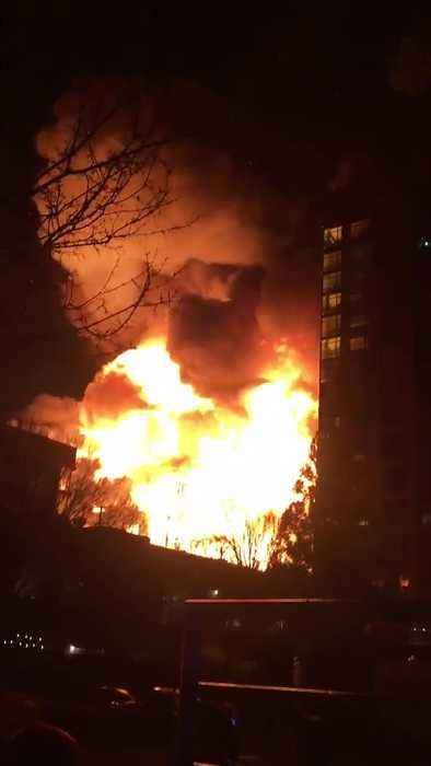 Insanely massive fire in Raleigh: Burning apartments and exploding cars