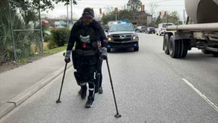 US man breaks exoskeleton marathon record