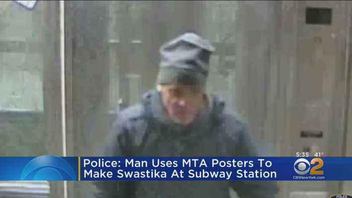 Police: Man Uses MTA Posters To Make Swastika At Subway Station