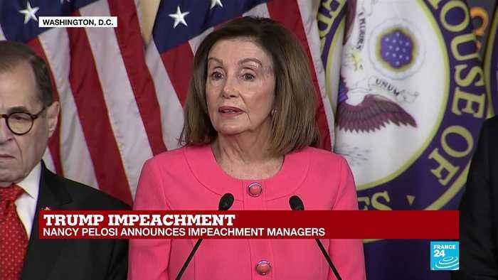 Nancy Pelosi addresses the press regarding the articles of impeachment on Donald Trump