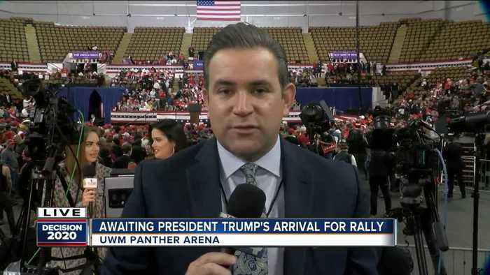 Awaiting President Trump's arrival for rally