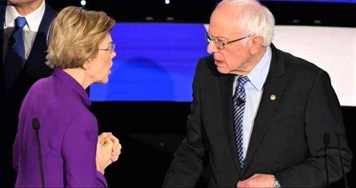 Elizabeth Warren refuses to shake Bernie Sanders' hand after Democratic debate