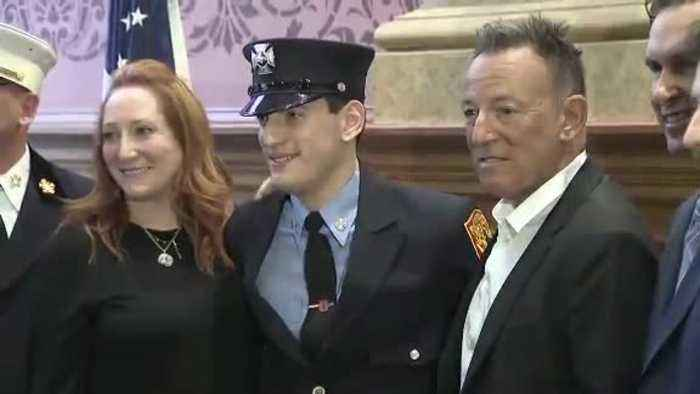 Bruce Springsteen shows up for son's swearing-in as firefighter