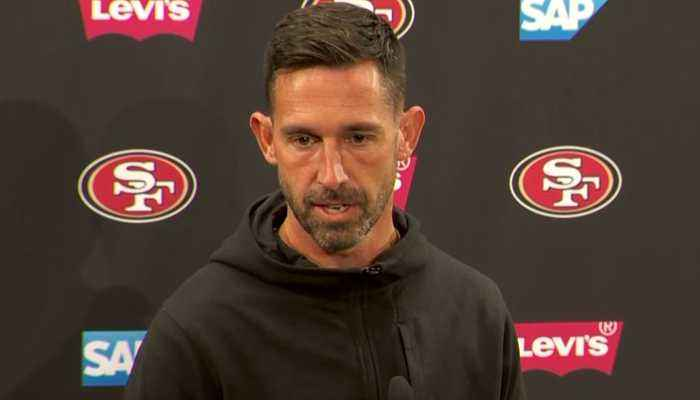 49ERS NFC CHAMPIONSHIP: 49ers coach Kyle Shanahan talks about admiring Golden State Warriors style of play