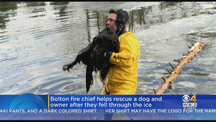 Bolton Fire Chief Rescues Dog And Owner Who Fell Through Ice