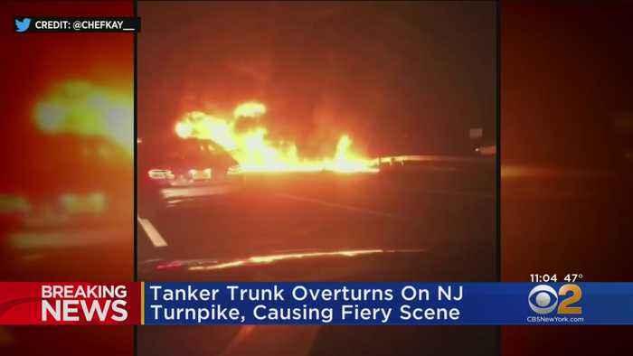 Tanker Truck Overturns On NJ Turnpike, Causing Fiery Scene