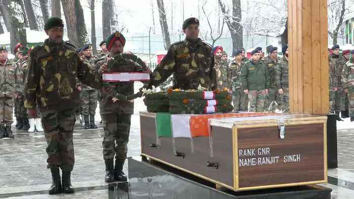 Indian army pays tribute to three soldiers killed in avalanche