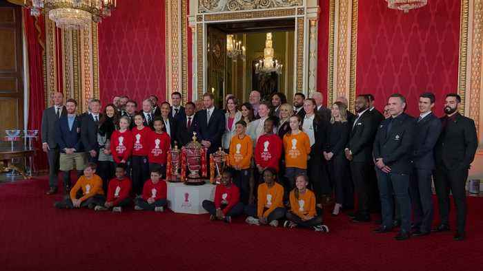 Harry hosts Rugby League World Cup draw at Buckingham Palace