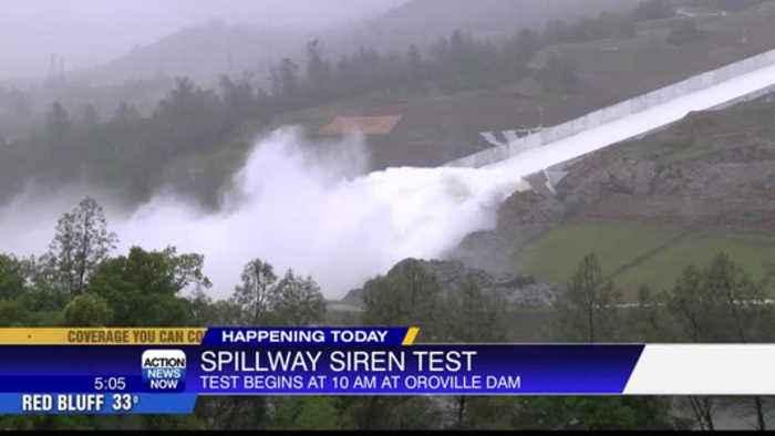 Oroville Dam spillway siren sounds
