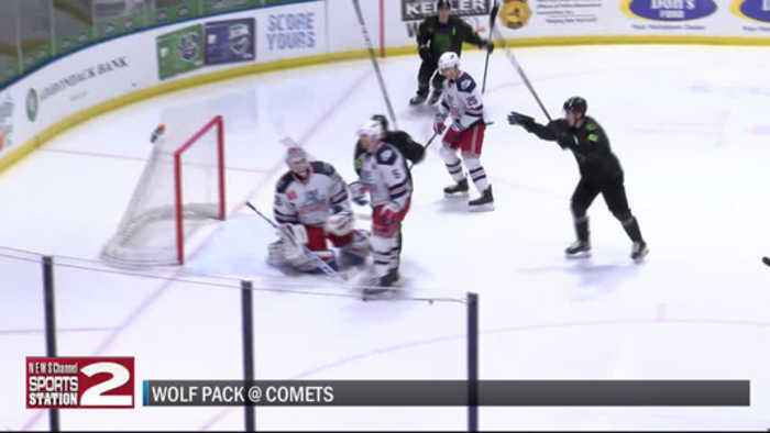 Comets escape with OT win after giving up five goal lead against Wolf Pack