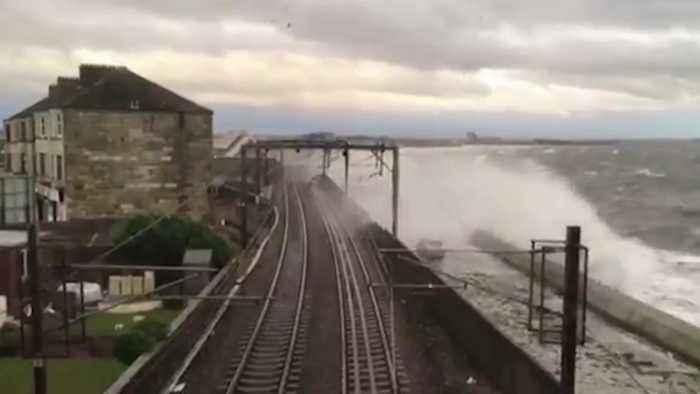 Storm batters train line on Scotland's west coast