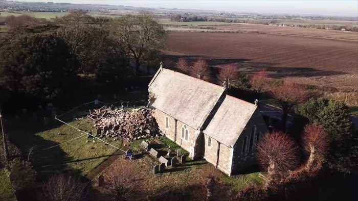 150-year-old church tower collapses shortly before Sunday service