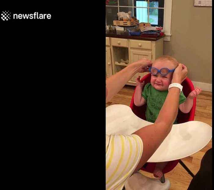 Baby sees mom clearly for the first time after getting glasses