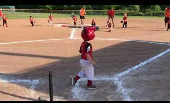 Kid gets Hit in the Head with Bat while Playing Tee-Ball