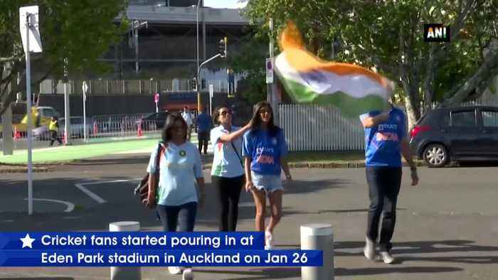 Ecstatic fans throng at Eden Park in Auckland ahead of India New Zealand match