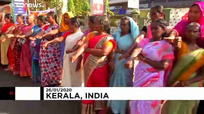 Up to seven million people form 620km human chain to protest India citizenship law