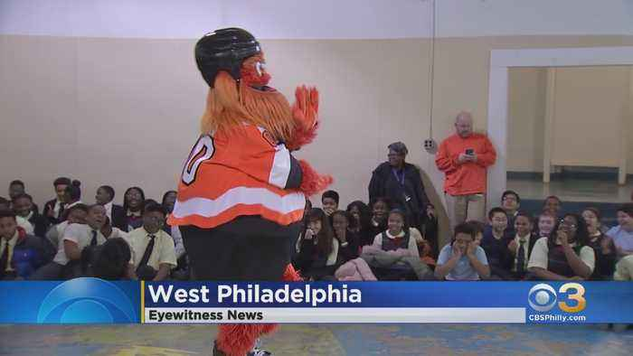 Gritty, Flyers Donate Defibrillator Device To West Philadelphia School