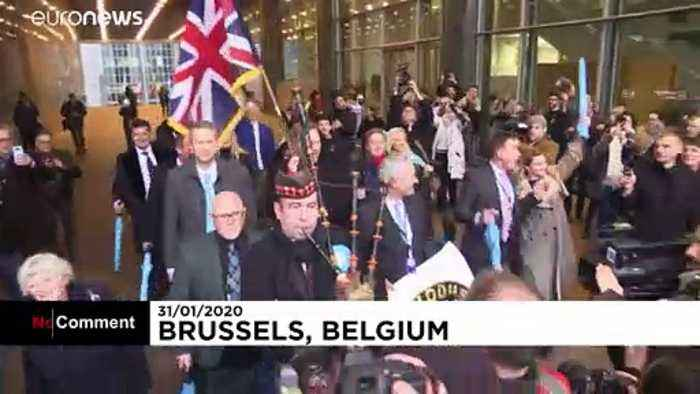 Bagpipes play as Brexit Party MEPs leave EU parliament for final time